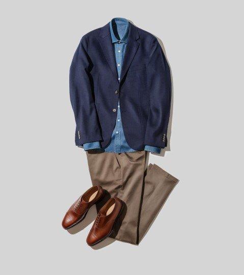 skjorta och kavaj i blått, byxor och skor i brunt