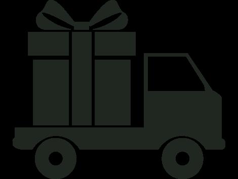 Ikon der forestiller en lastbil der levere en gave