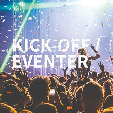 Kick off med människor och konfetti