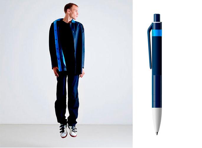 Mann kledd i like klær som fargene på en kulepenn