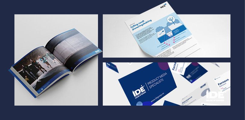 katalog, visitkort och broschyr