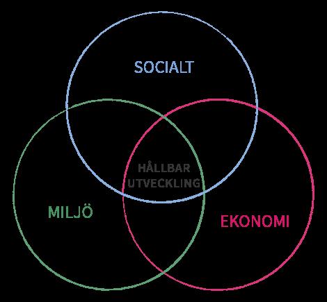 Tre dimensioner för hållbar utveckling: ekonomi, socialt och miljö