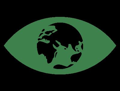 ikon grönt öga med jordglob