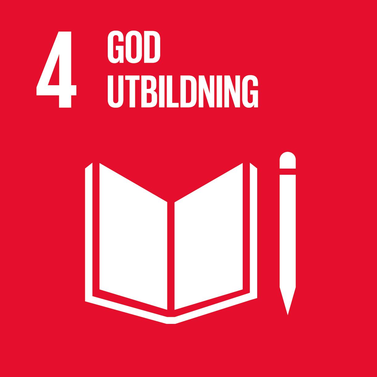ikon för mål god utbildning. vit bok och penna mot röd grund.