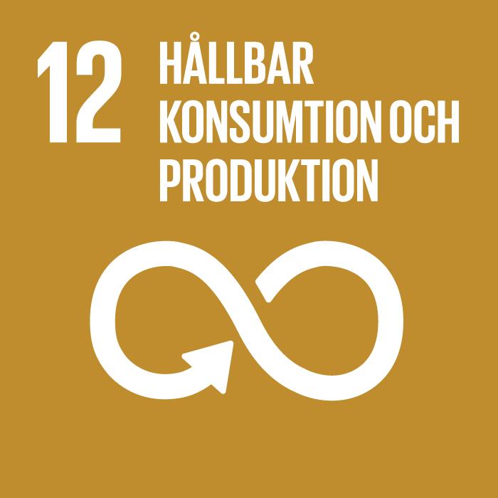 ikon för mål hållbar konsumtion och produktion. evighetssymbol med pil mot guldig grund.